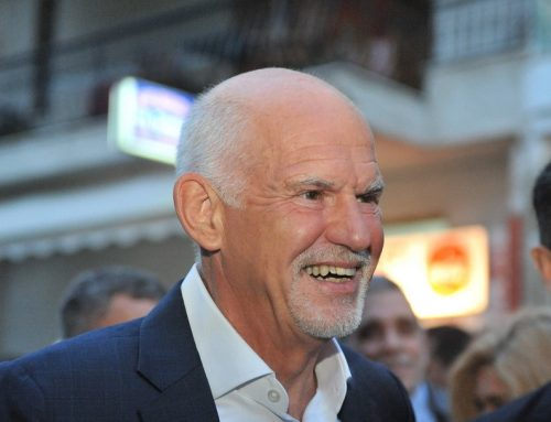 Ex- Prime Minister George Papandreou delivers a speech at the 6th World One Health Congress